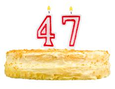 birthday cake with candles number forty seven - stock photo
