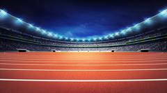 athletics stadium with running track at general front night view - stock illustration