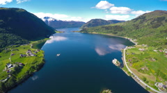 Beautiful Nature Norway.Flying over the Sognefjorden. Stock Footage