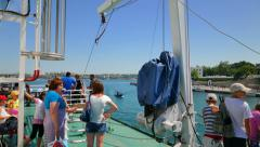 Passengers ferries look at Sevastopol bay from the deck of the ferry. - stock footage