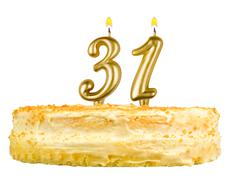 birthday cake with candles number thirty one - stock photo