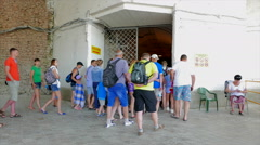 Tourists come to look the old Soviet submarine base. Stock Footage
