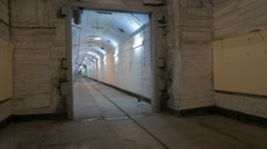 The corridor of the old Soviet military base. - stock footage