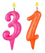 Birthday candles number thirty one - stock photo