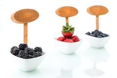 fresh blueberries, Blackberry, strawberry with signboard in bowl - stock photo