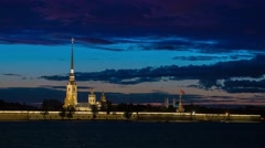 Paul and Peter fortress in Saint Petersburg city during the White Nights Stock Footage
