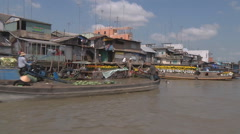 Floating market and boats at The Mekong Delta, Vietnam - stock footage