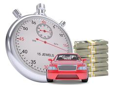 Timer with car and stack of money - stock illustration