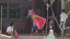 Kids playing at The Mekong Delta, Vietnam Stock Footage