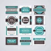 Set of 12 rectangle retro badges on white background. Stock Illustration
