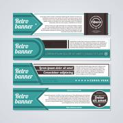 Set of 4 horizontal retro banners. Useful for web design and advertising. - stock illustration