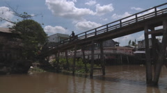 River bank and boats at The Mekong Delta, Vietnam Stock Footage