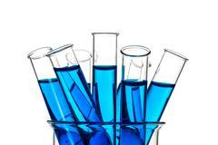 Test tubes blue liquid, Laboratory Glassware - stock photo