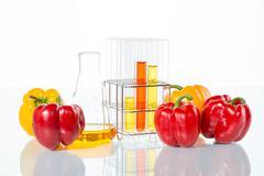 vegetable test,  Genetic Modification, Pepper - stock photo