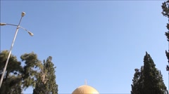 Goden Dome Shrine in the Temple Mount in the Holy City of Jerusalem Stock Footage