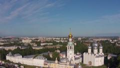 Ancient Kremlin and the Sofia Cathedral aerial drone view Vologda, Russia Stock Footage