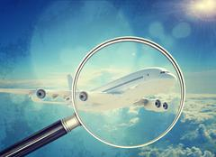 Jet under magnifier, close-up view - stock illustration