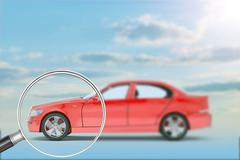 Red car under loupe - stock illustration