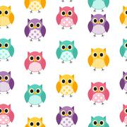 Stock Illustration of Owl Seamless Pattern Background Vector Illustration