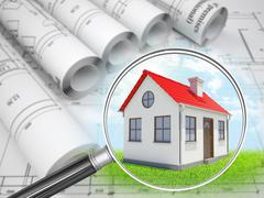 Stock Illustration of House under loupe with drafts