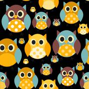Owl Seamless Pattern Background Vector Illustration - stock illustration
