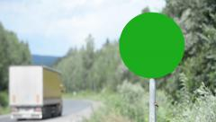 The pattern of road sign (for editing) round shape on the column Stock Footage