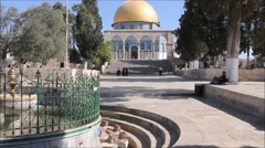 Dome of Rock on Temple Mount in the Holy City of Jerusalem Stock Footage