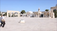 Dome of Rock Mosque in the Temple Mount in the Holy City of Jerusalem Stock Footage