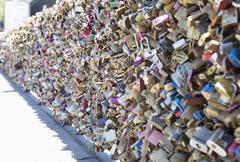 Locks of Love in Paris, France Stock Photos
