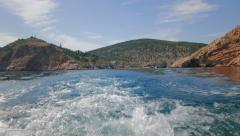 View from the stern of the boat going fast on the trail of foam behind him. Stock Footage