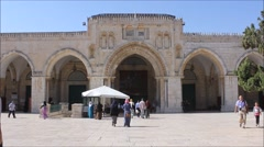 Al-Aqsa Mosque in the Temple Mount in the Holy City of Jerusalem - stock footage