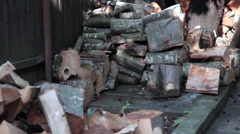 Stacks of wood logs and dry firewood, winter supplies for fire Stock Footage