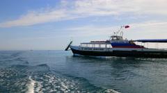 Motor boat sails on the the bay. Black Sea. Balaclava, Crimea. Stock Footage