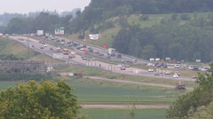 Heavy traffic on highway 400 north of Toronto on hot summer day Stock Footage