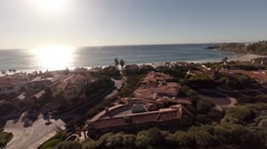 Aerial beautiful view Luxury homes. California. Sun, Pacific Ocean. Stock Footage