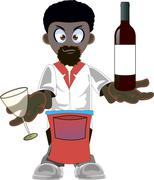Cartoon  african american waiter - stock illustration