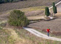 Mountain biker riding through Tuscan landscape - stock photo