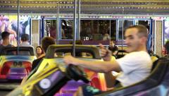 Bumper Cars theme park Close Up - 60fps Stock Footage