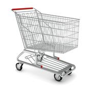 Metal shopping cart for purchase - stock illustration
