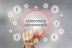 Stock Illustration of business hand pushing corporate governance button