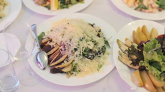 The dishes with salads and pickles at a banquet Stock Footage