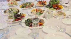 Gourmet dinner with a variety of tasty dishes Stock Footage