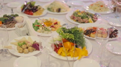 An exquisite banquet with plurality of delicious dishes Stock Footage