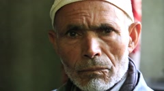 Portrait Indian muslim old man in market. Srinagar, India Stock Footage