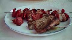 Juicy barbecue, grilled slice of meat, skewers, vegetables, pork, kebab Stock Footage