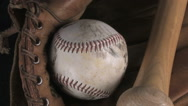 Stock Video Footage of Baseball, glove and bat zoom in