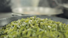 Baked green beans in a large frying pan Stock Footage