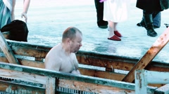 Traditional Ice Swimming at Epithany Day in Russia Stock Footage