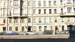 Panoramic View to Griboedov Channel Embankment in St. Petersburg, Russia Stock Footage