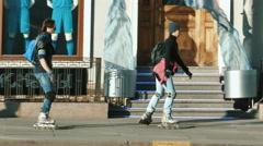 People Walk Along Nevsky Prospekt in St.Petersburg, View from the Opposite Side Stock Footage